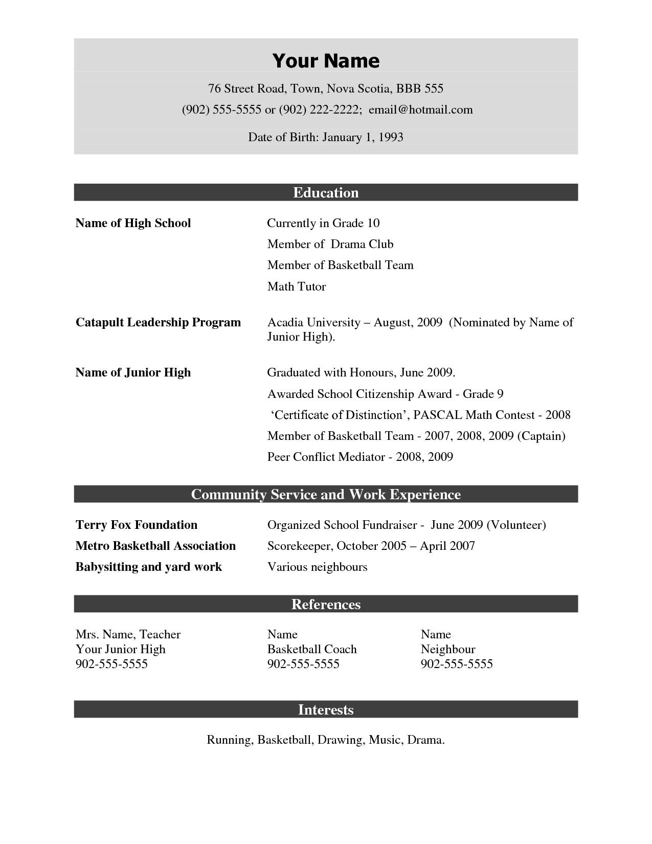 Simple Resume Format Pdf Free
