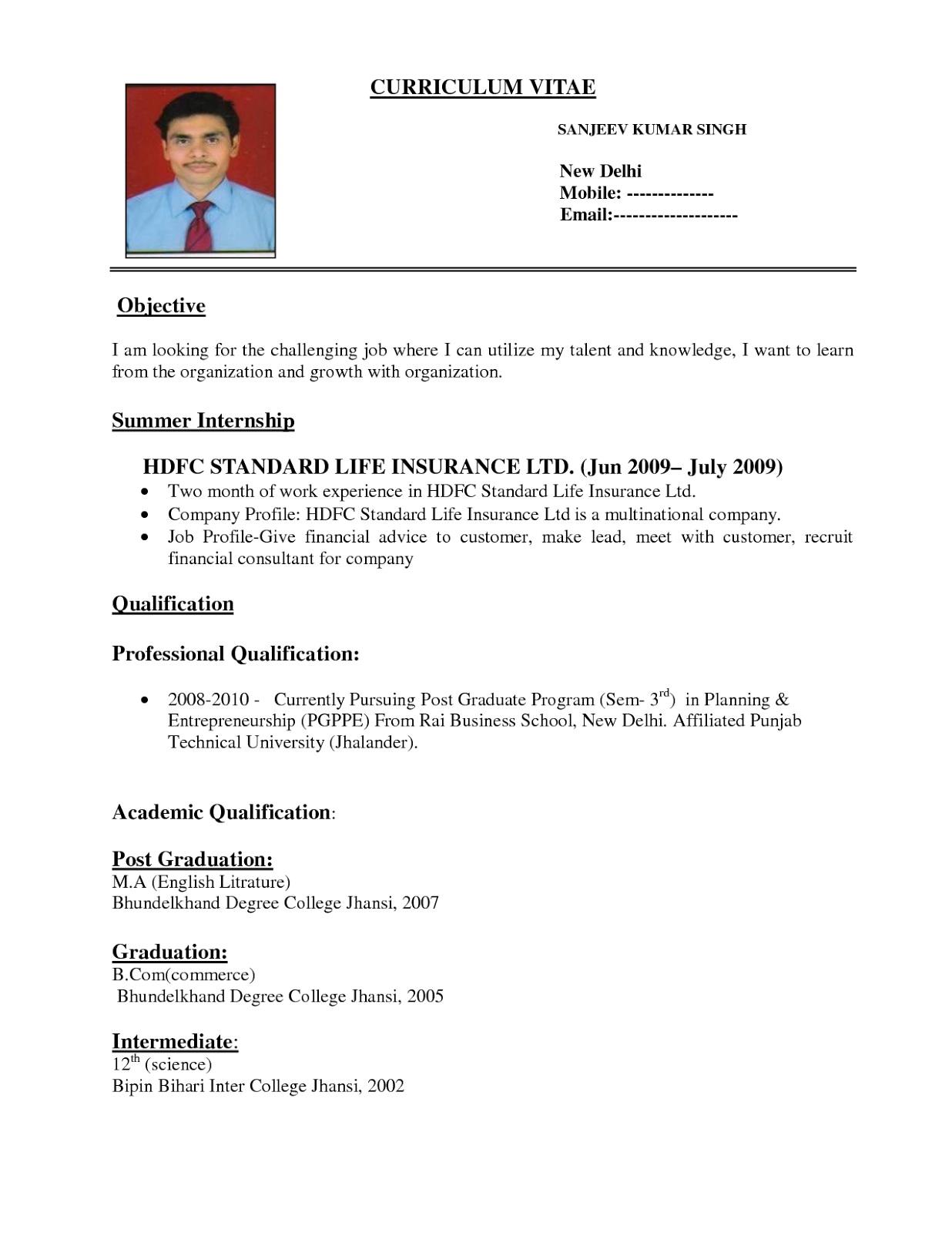 Simple Resume Format Pdf India