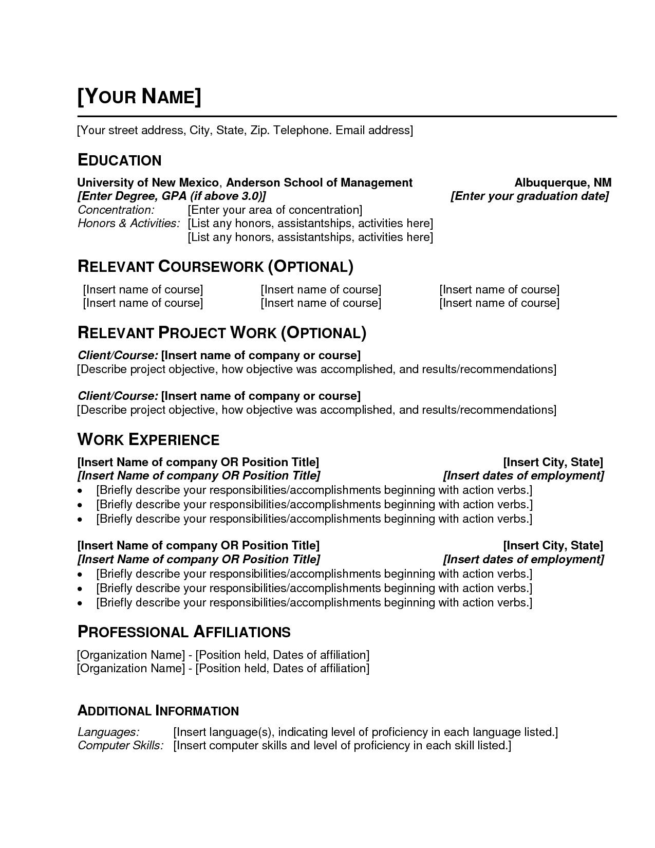 Simple Resume Format Word Pdf