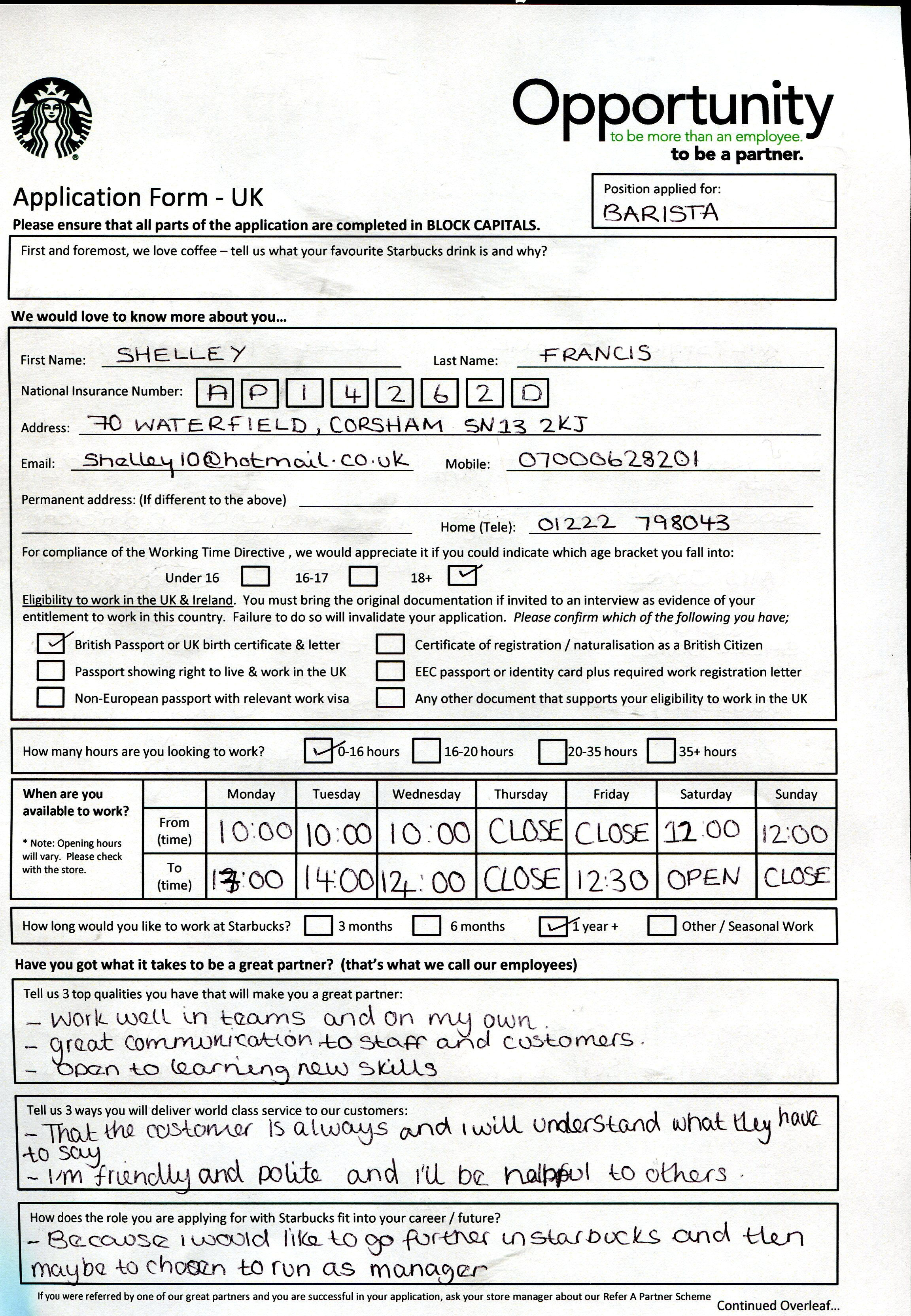 Starbucks.com Job Application Form