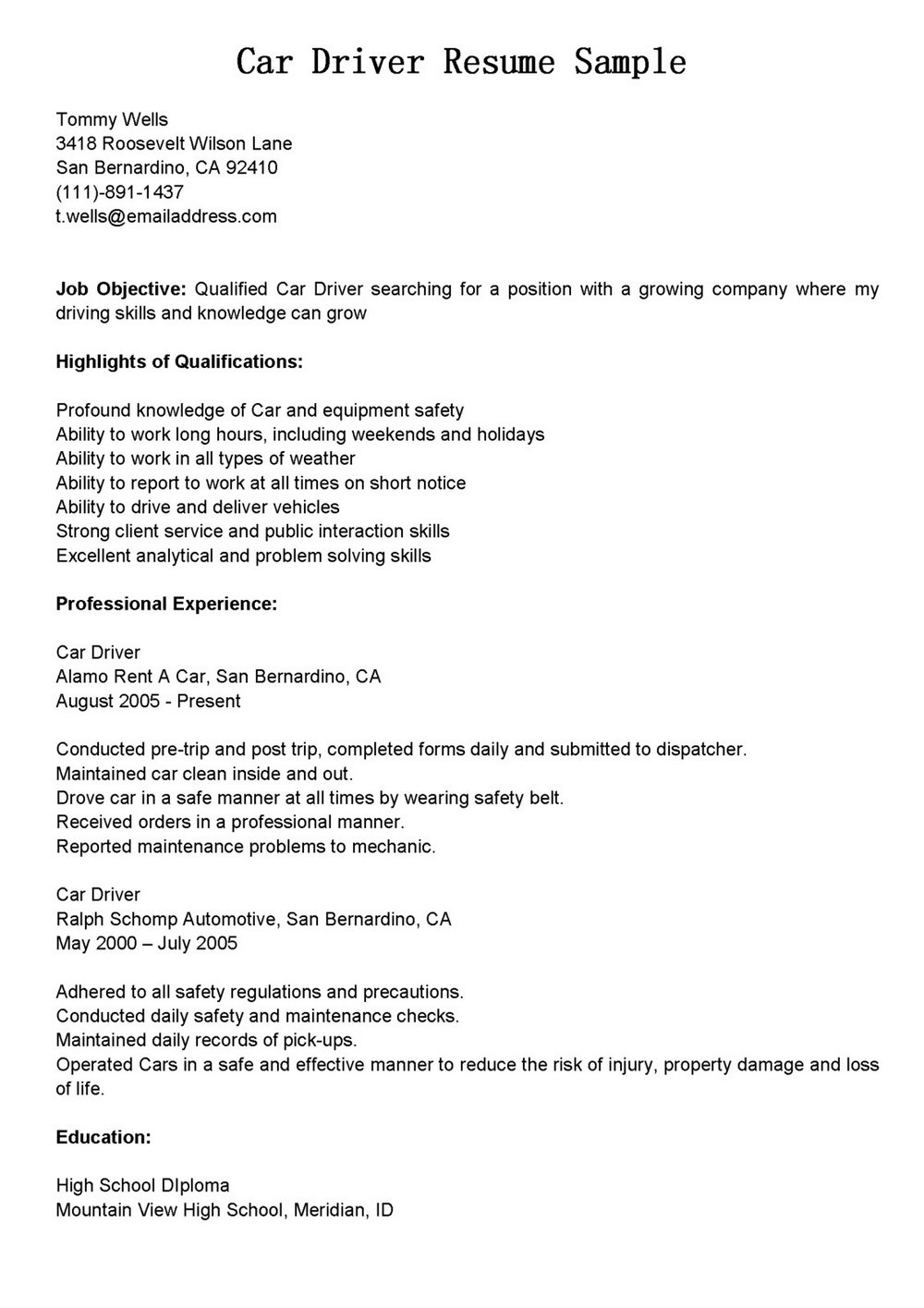 Truck Driver Resume Format In Word
