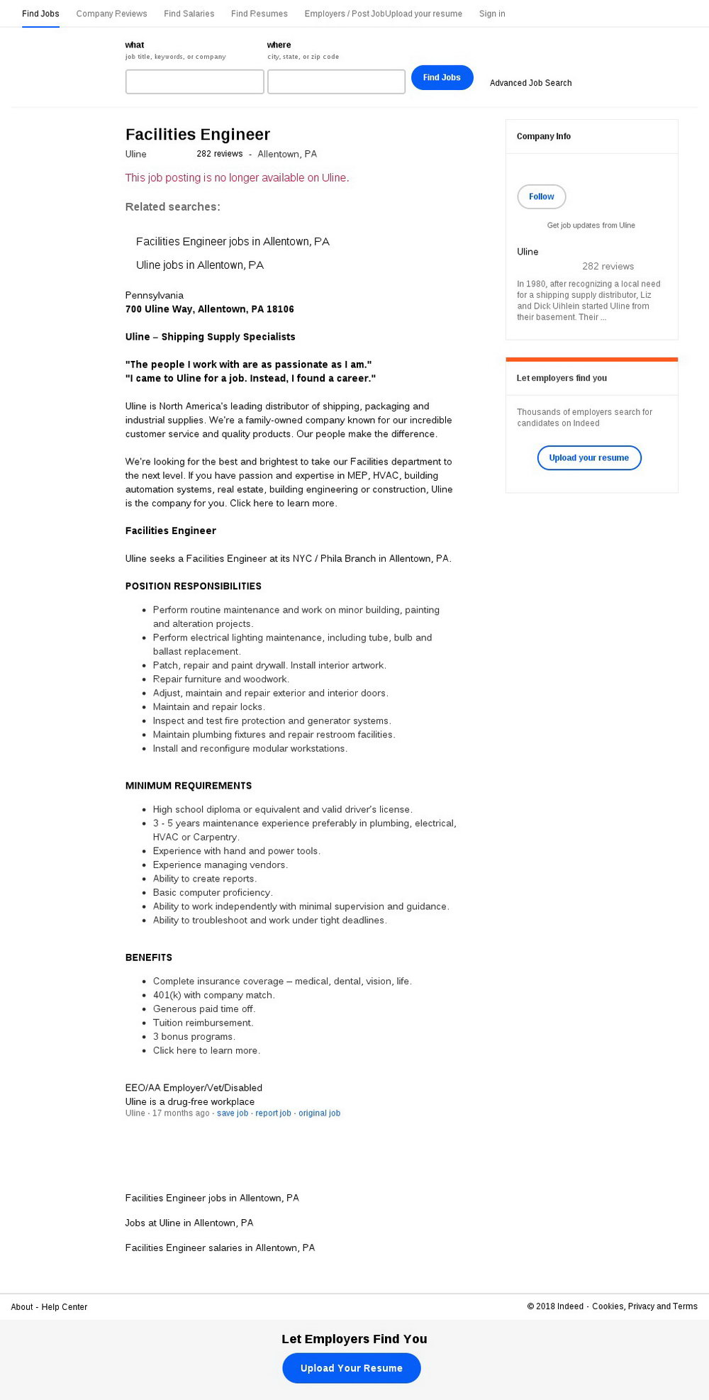 Uline Employment Application