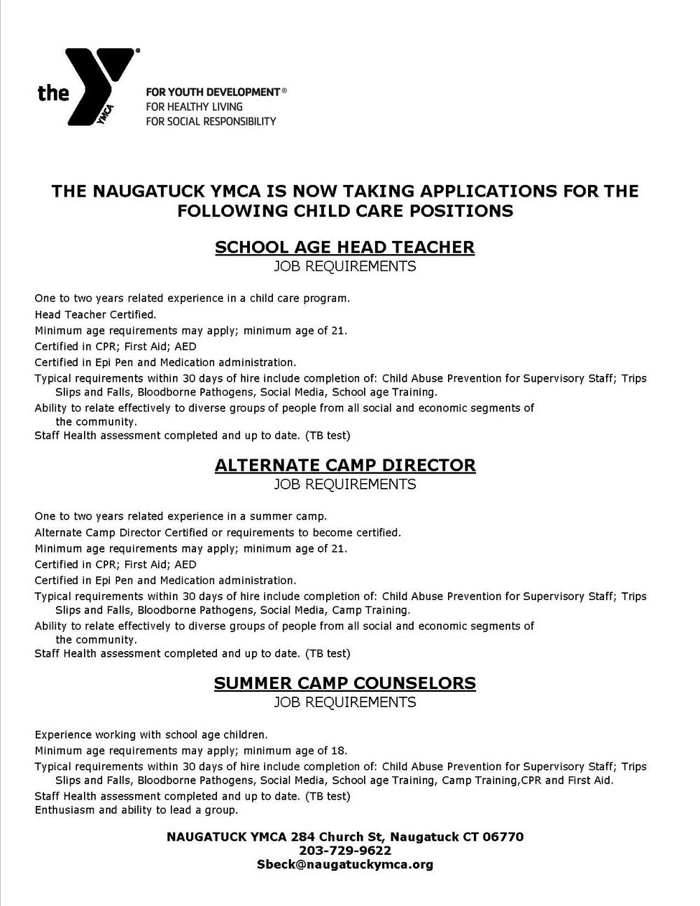 Ymca Job Application Form Online