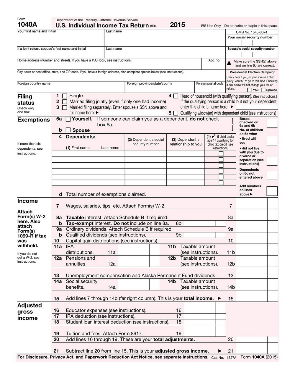 1040ez Fillable Form 2015