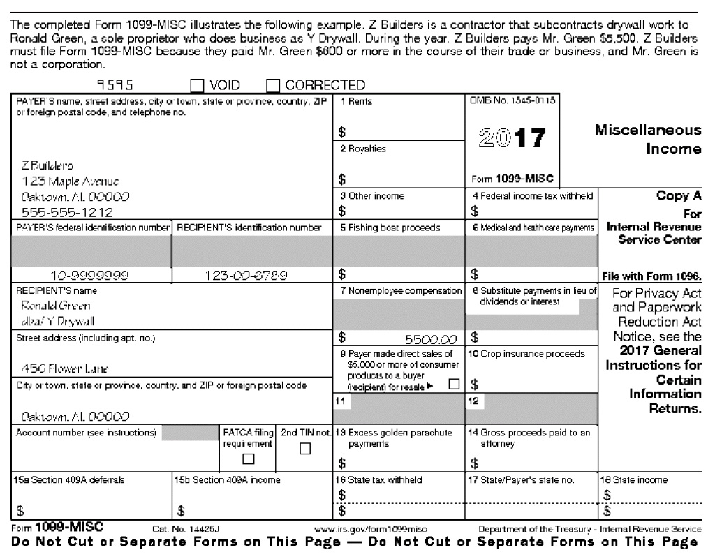 1099 Misc Form 2017 Printable