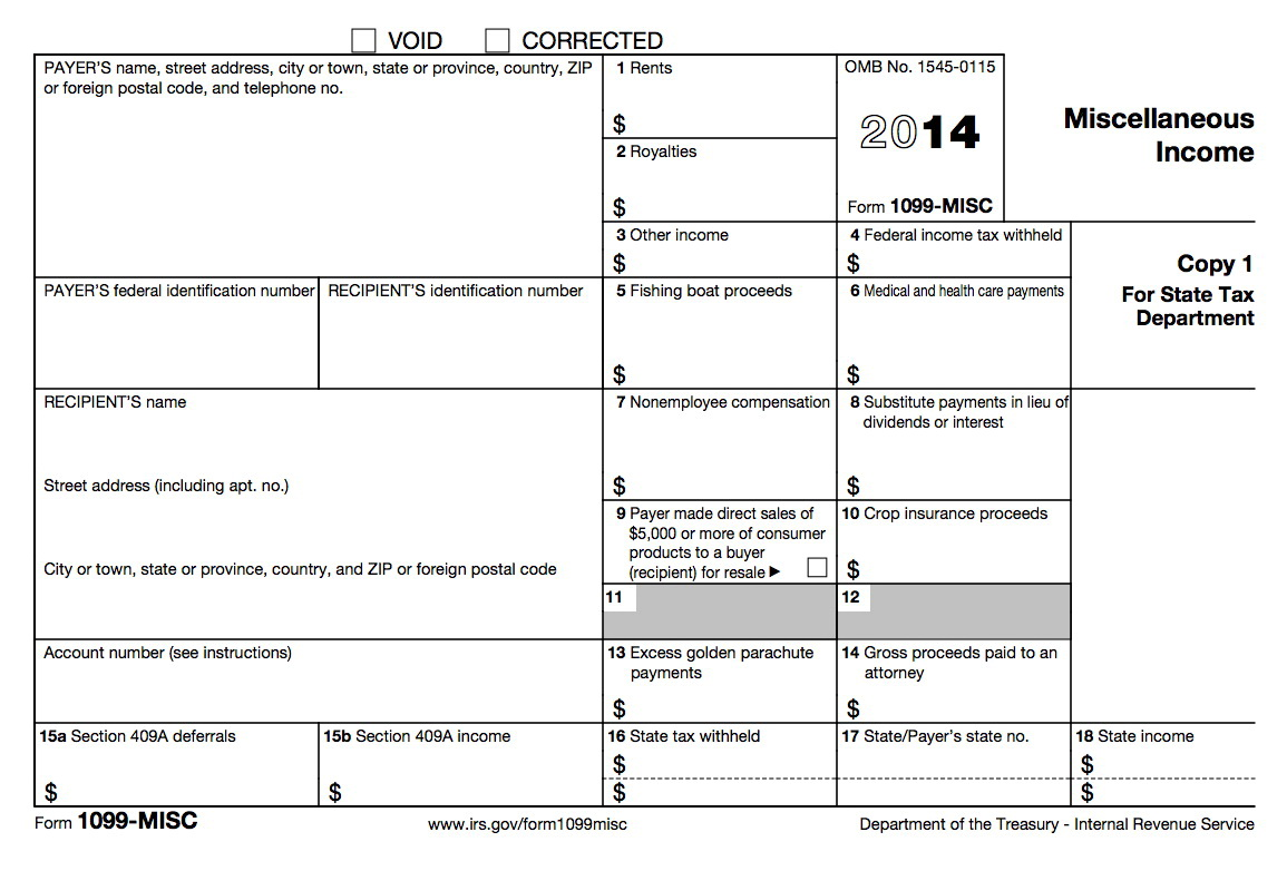 1099 Tax Form 2014 Printable