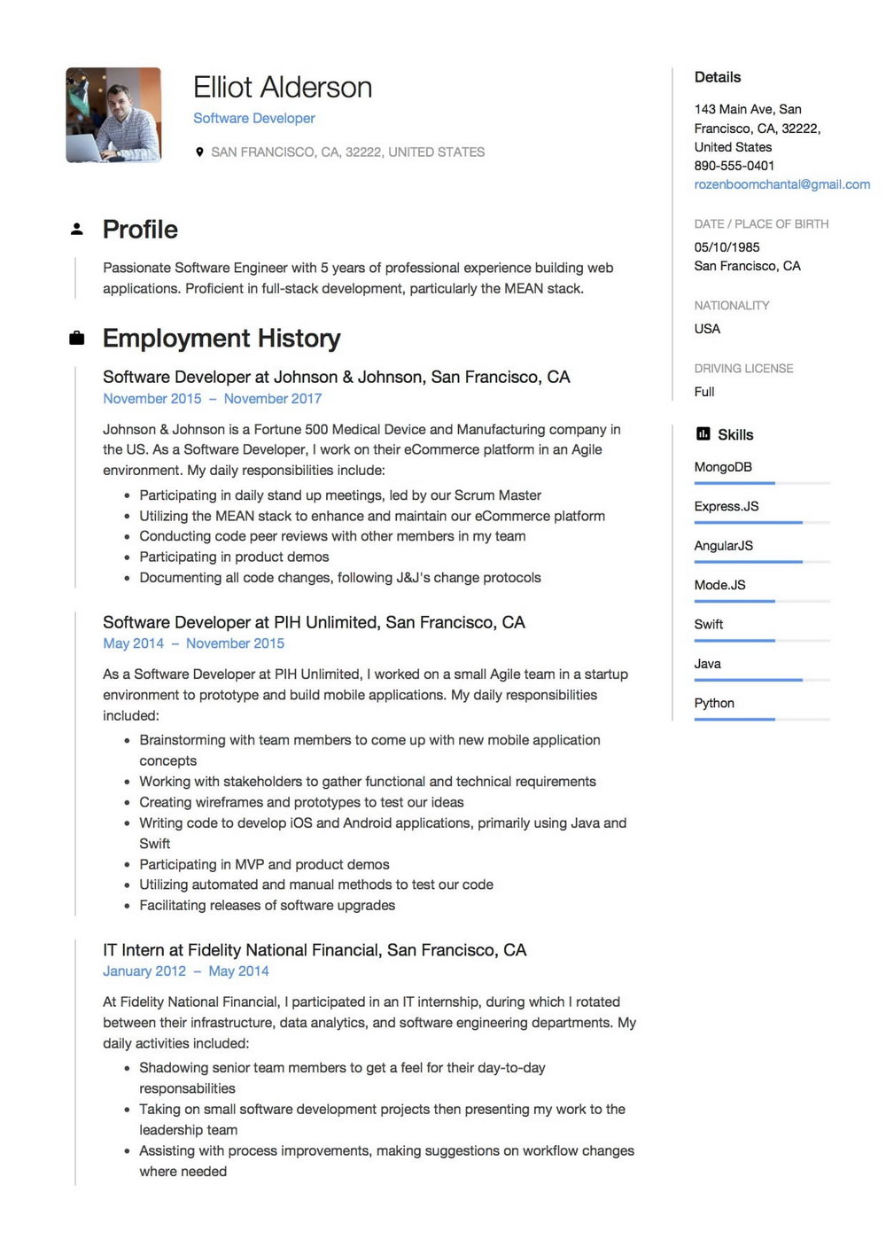2 Page Resume Format For Experienced Free Download