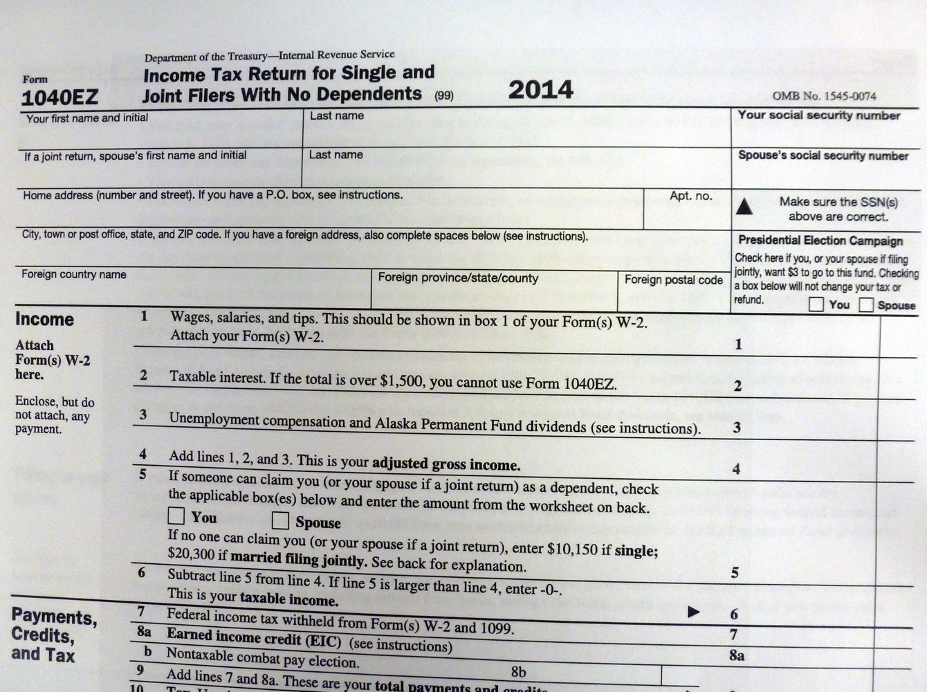 2014 Federal Tax Return Form 1040