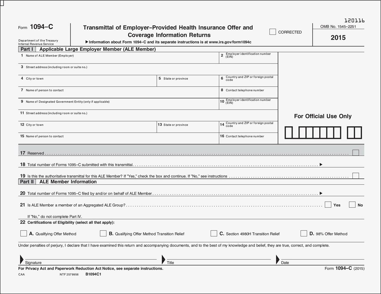Aca Tax Filing Forms