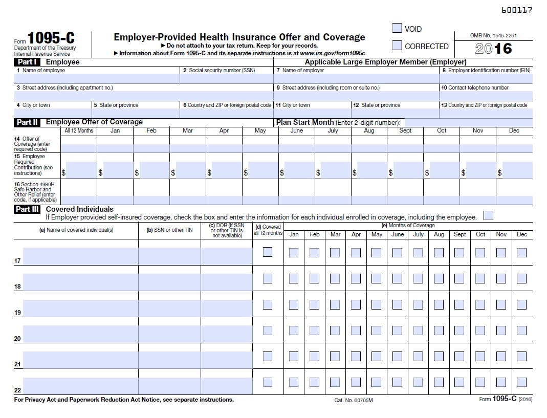 Affordable Care Act Tax Forms 2016