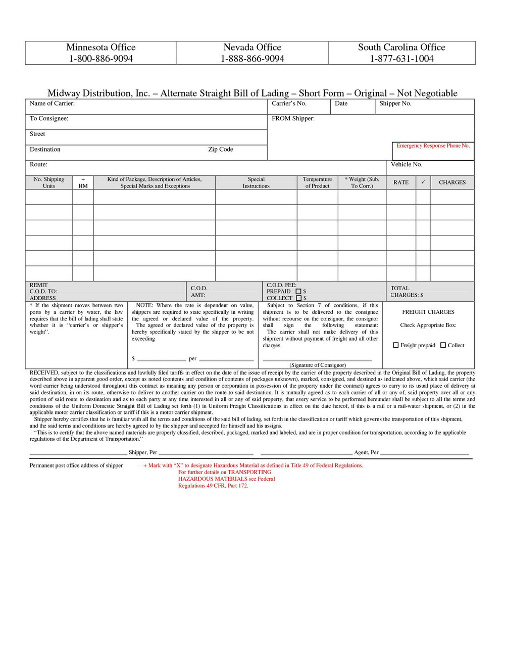 Bill Of Lading Form Canada