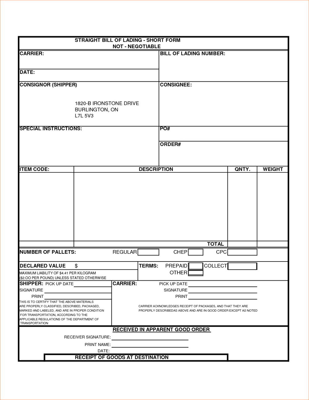 Bill Of Lading Form Pdf