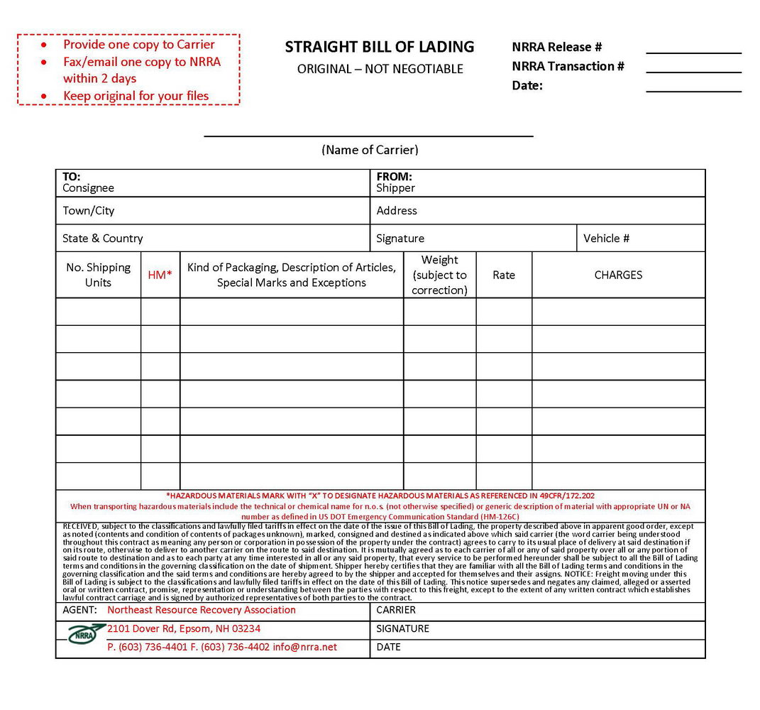 Bill Of Lading Form Simple