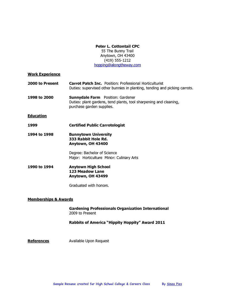 College Student Resume Builder Free