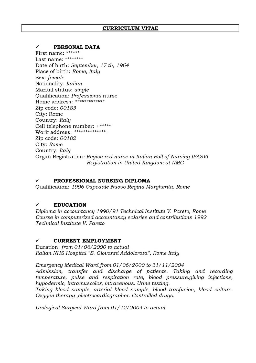 Curriculum Vitae Registered Nurse Sample