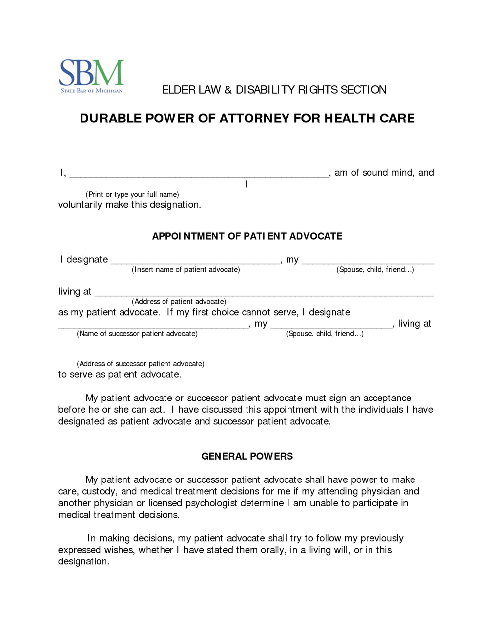 Durable Medical Power Of Attorney Form Mn