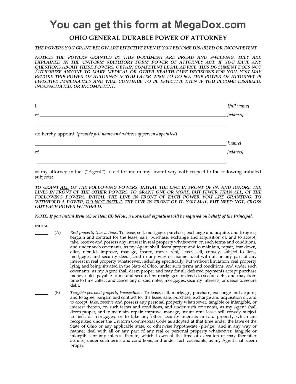 Durable Power Of Attorney Form Florida