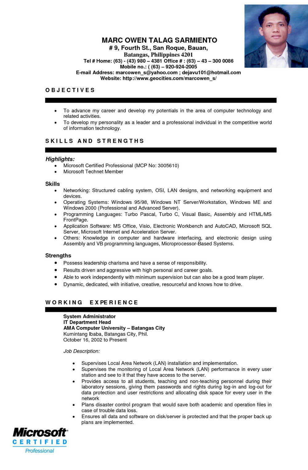 Engineering Student Resume Format Free Download