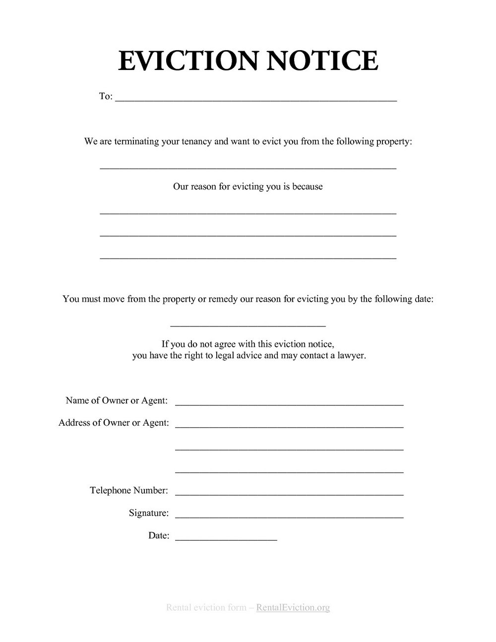 Eviction Notice Format