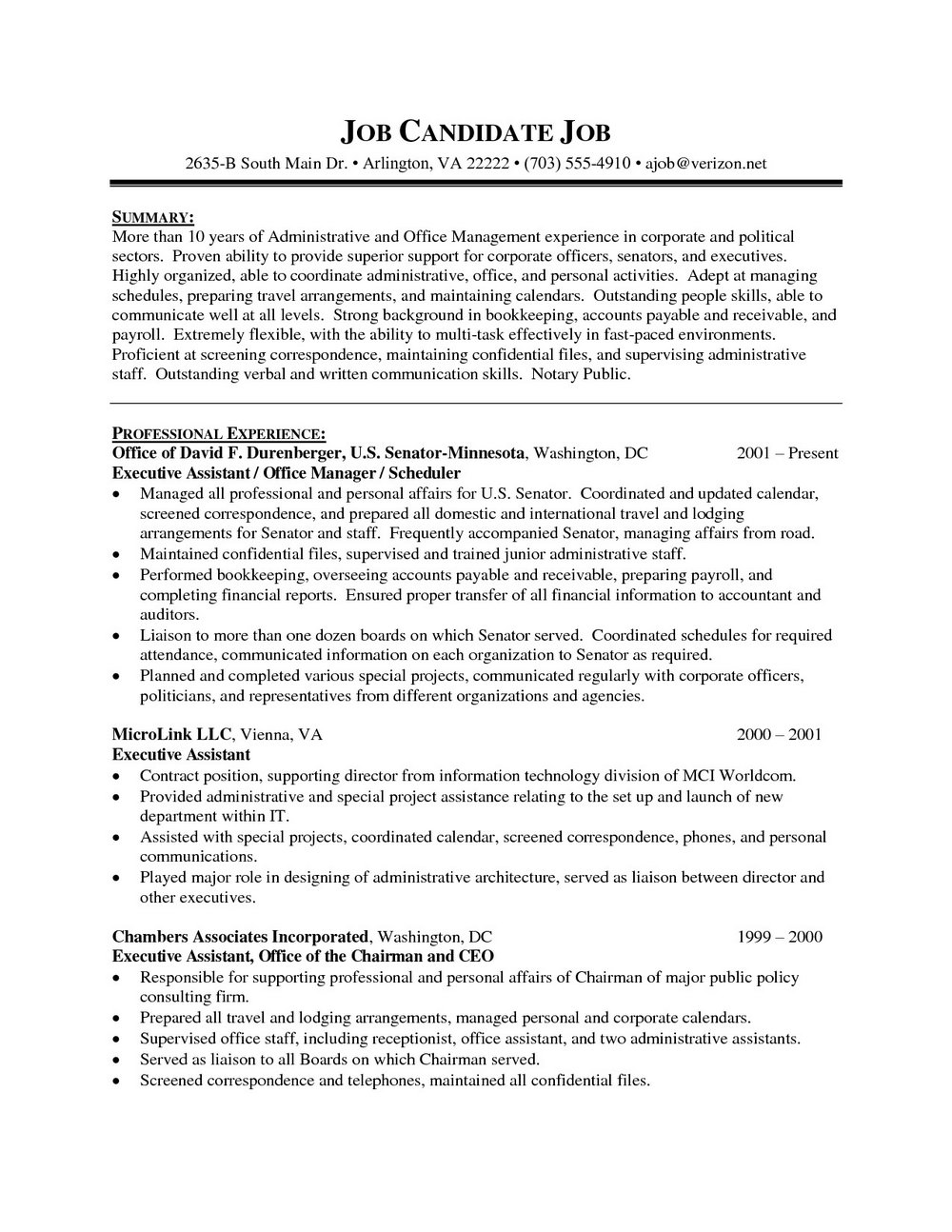 Executive Assistant Cv Template Free