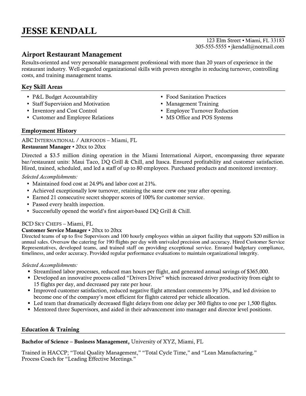 Executive Cv Template Word Free Download