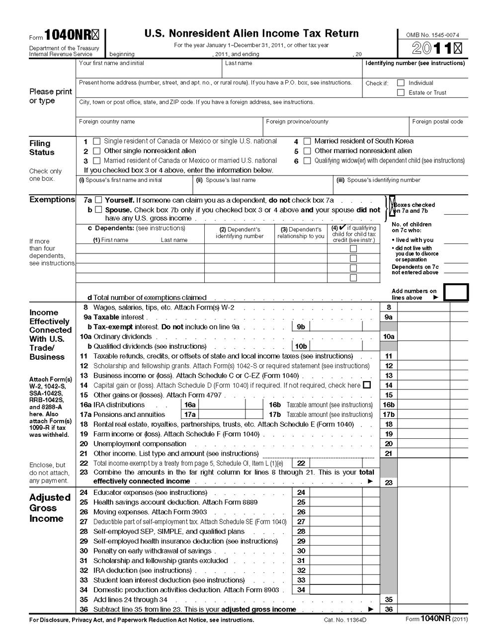 Federal Tax Return Form 1040 Mailing Address