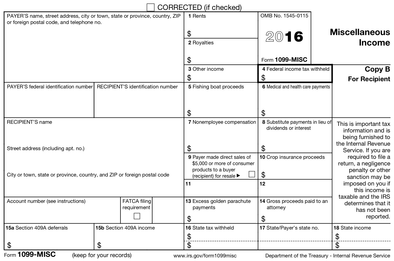 Form 1099 Misc 2016