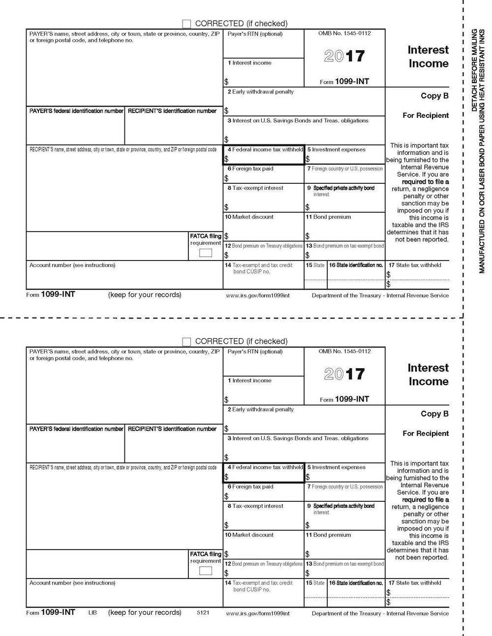 Form 1099 Misc 2017 Printable