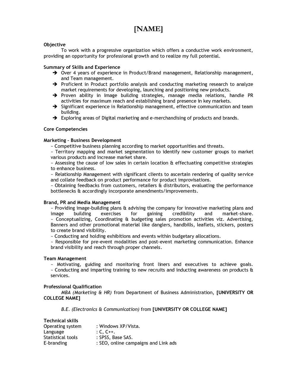 Free Download Mba Resume Sample