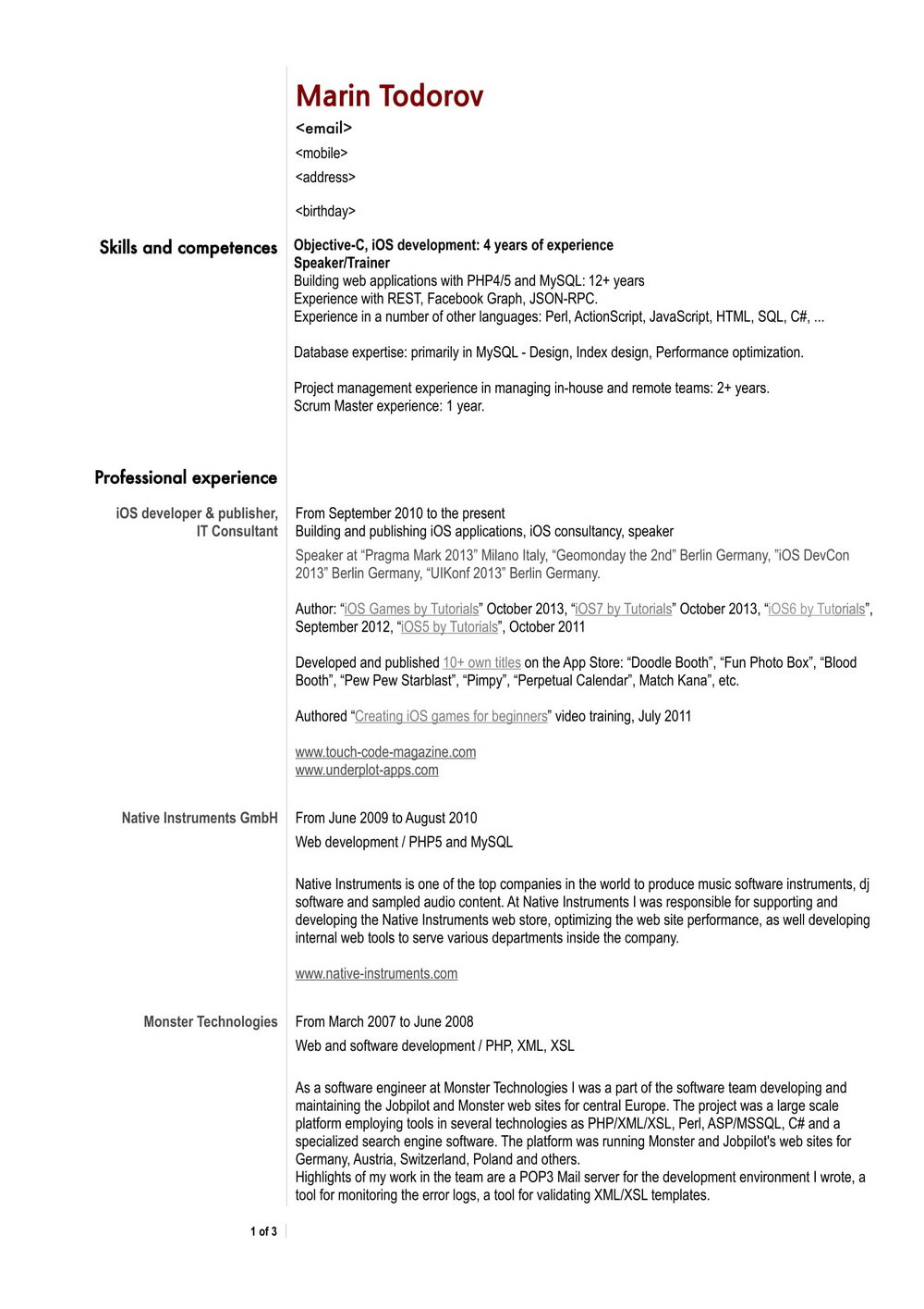 Free Download Sample Resume For Software Engineer