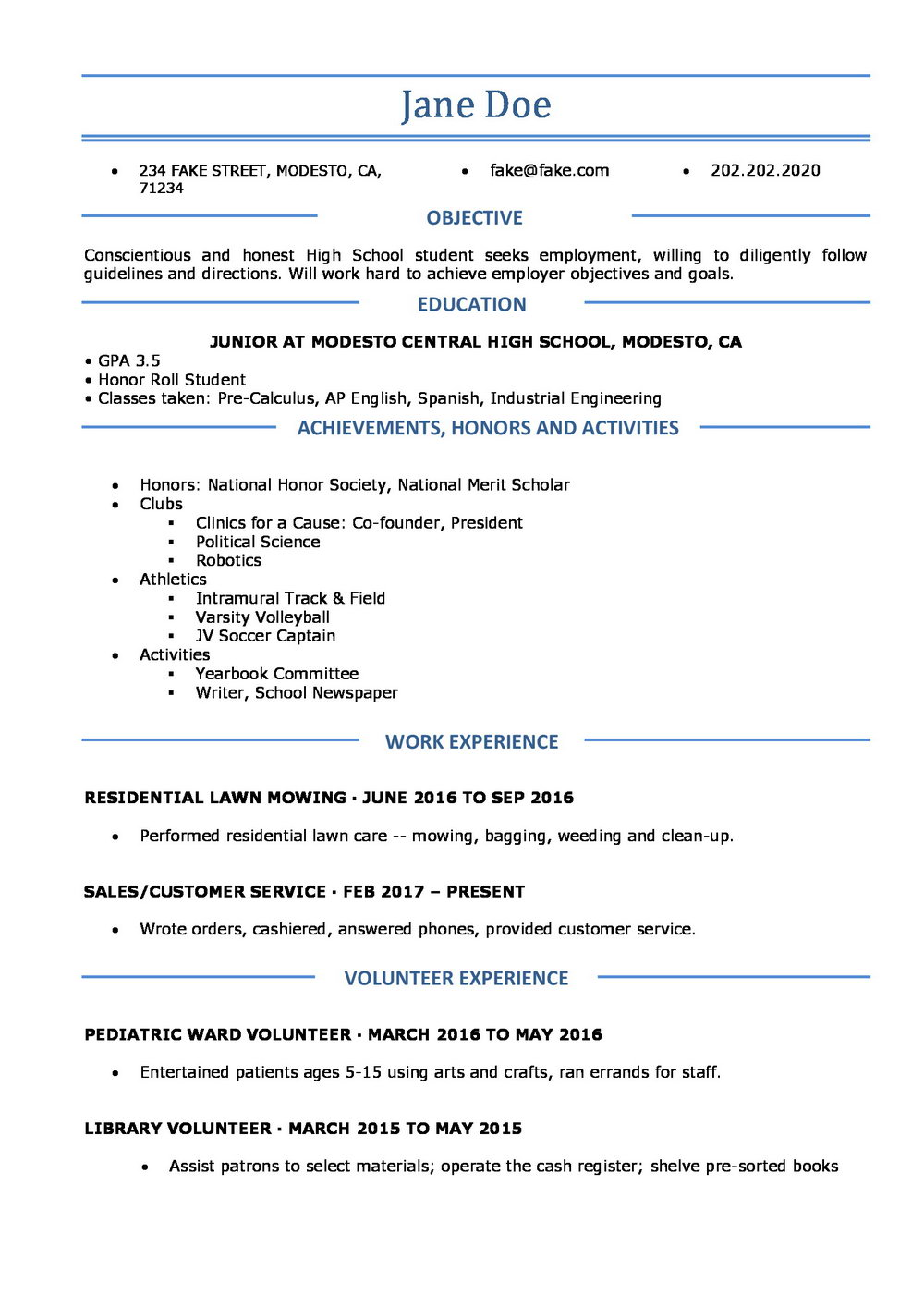Free High School Resume Templates For Students