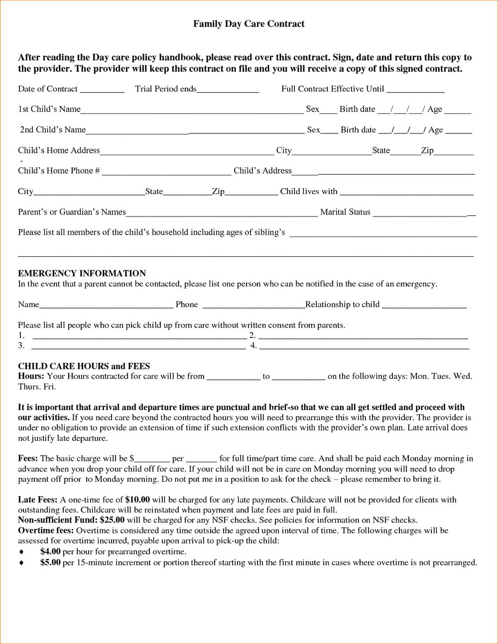 Free Printable Daycare Contract Forms