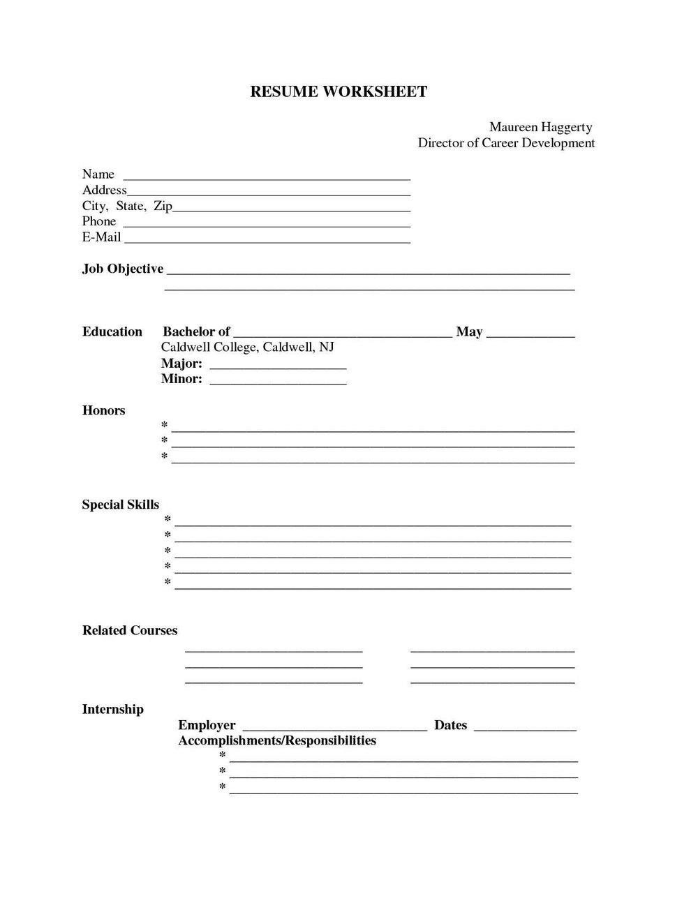 Free Resume Blank Printable Forms