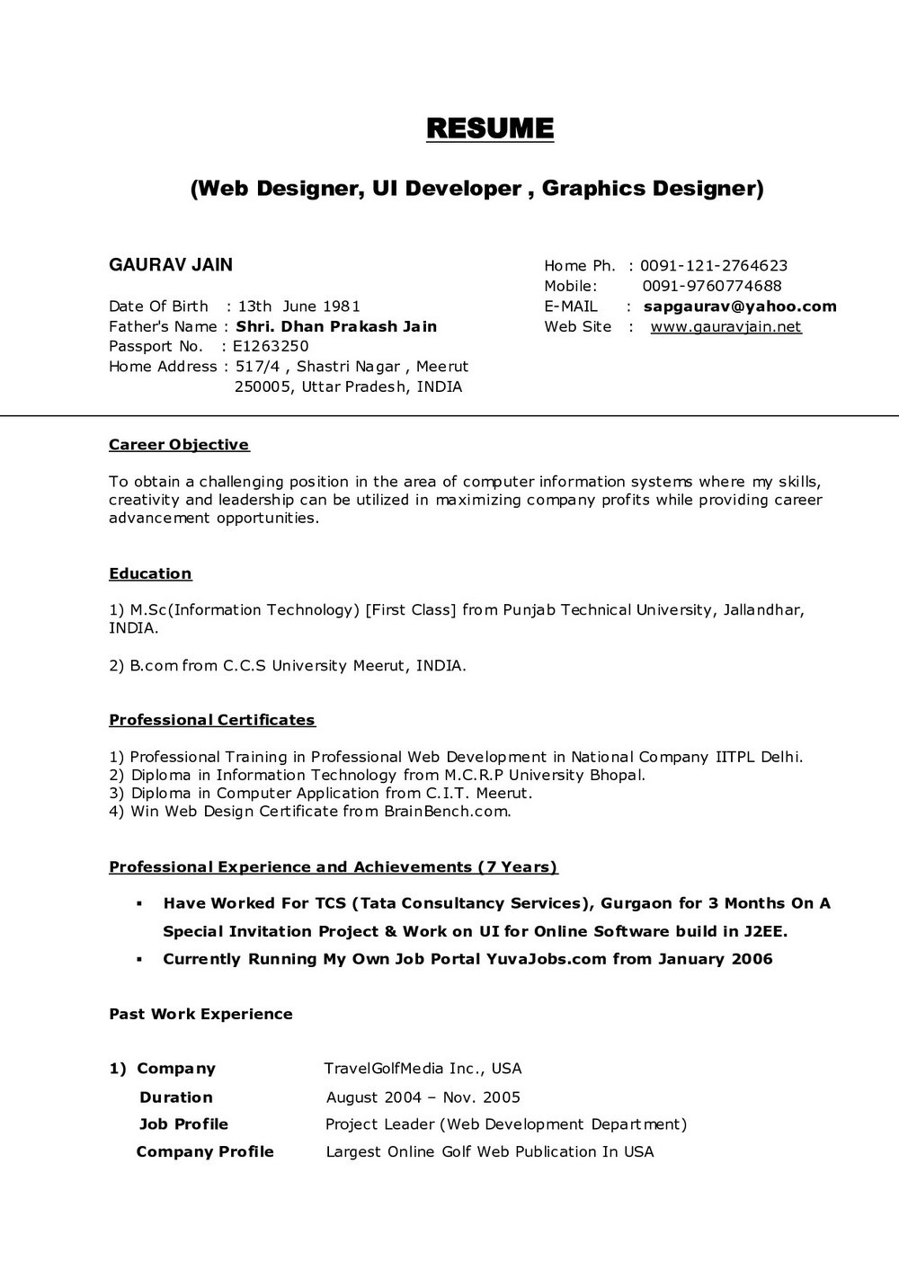 Free Resume Sample Download For Freshers