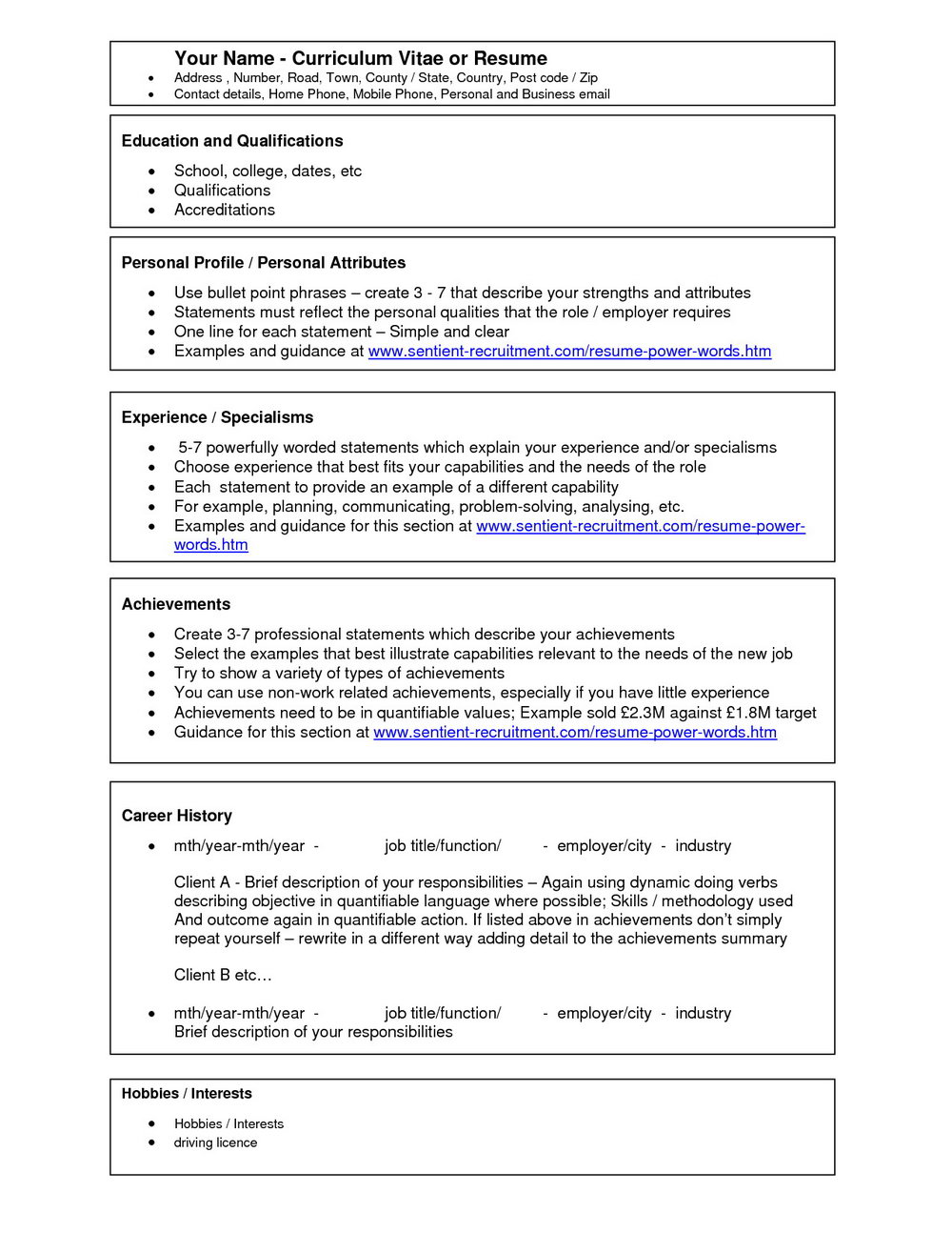 Free Resume Template Download 2018