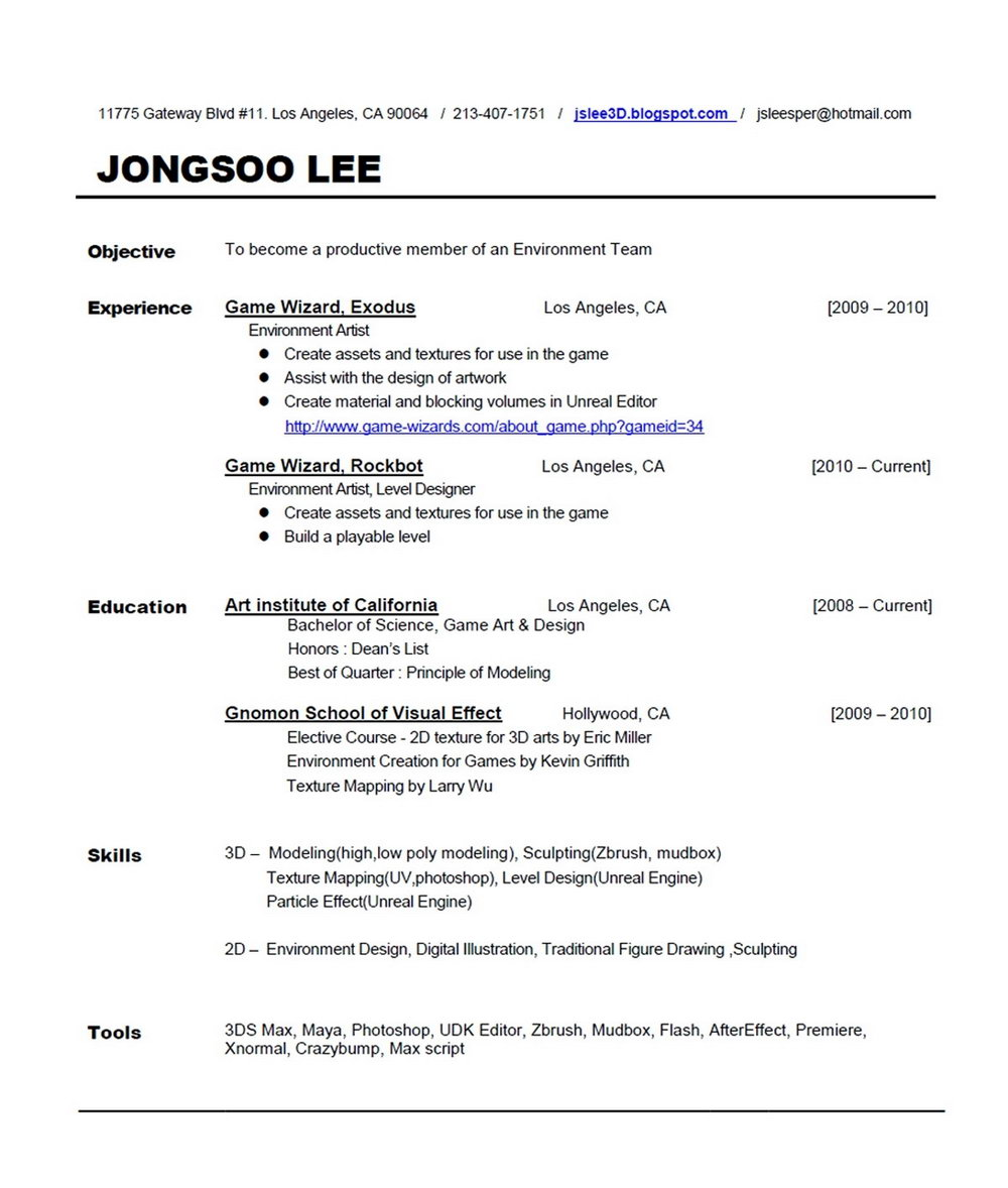 Free Resume Template Download Doc