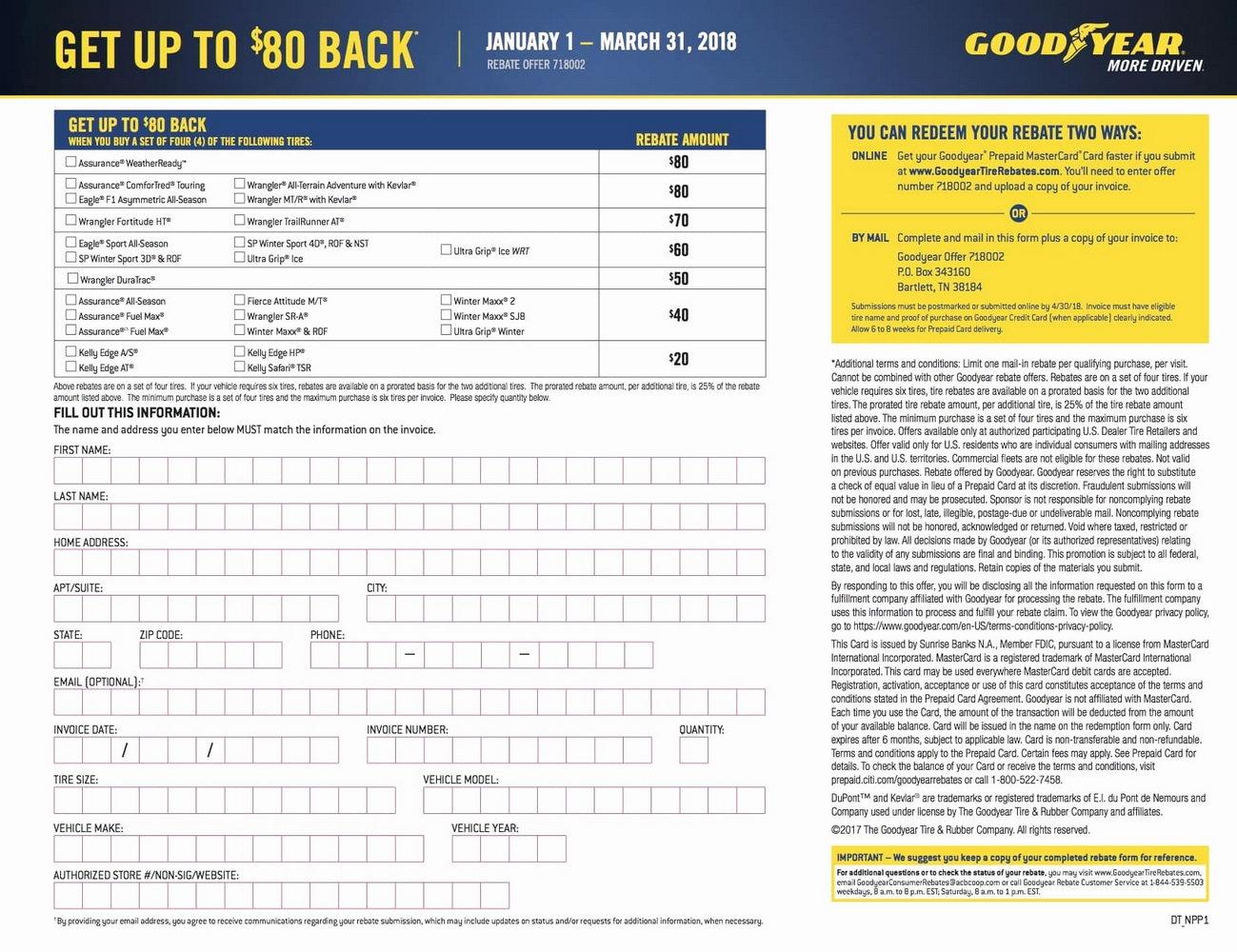 Goodyear Rebate Form June 2017