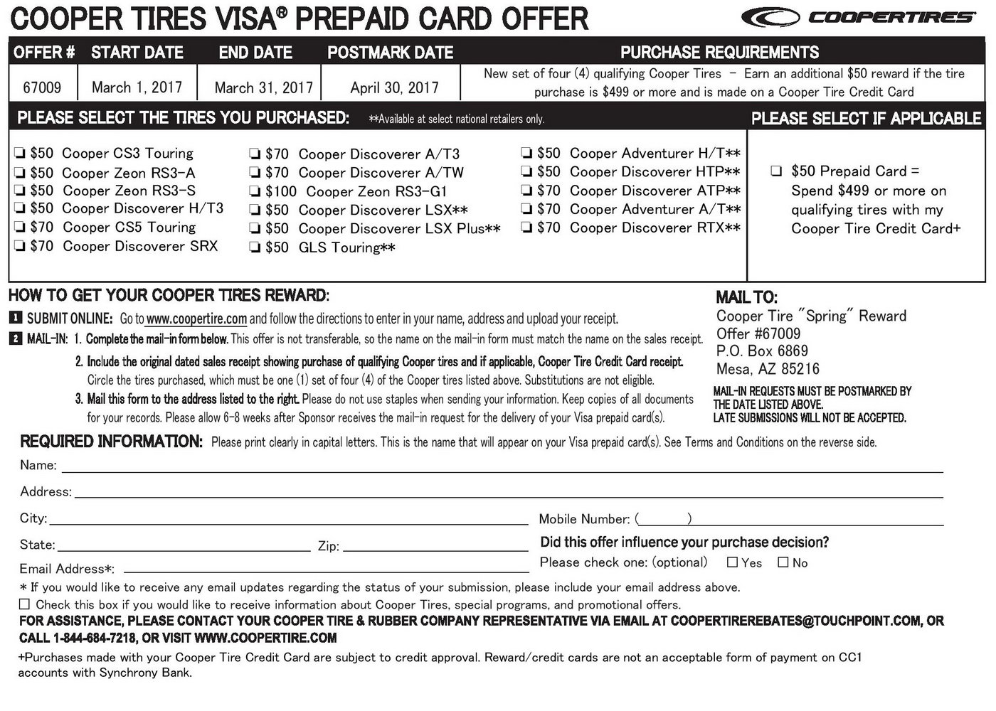 Goodyear Rebate Form June 2018