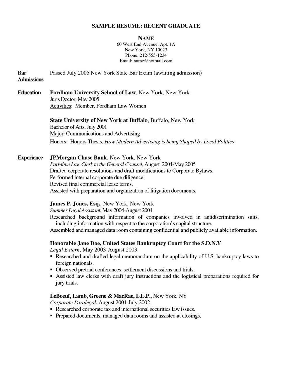 Graduate Registered Nurse Resume Examples
