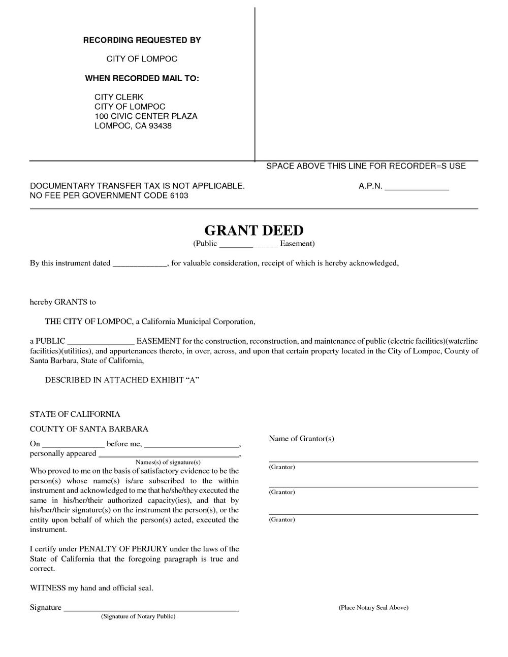 Grant Deed Form Oregon