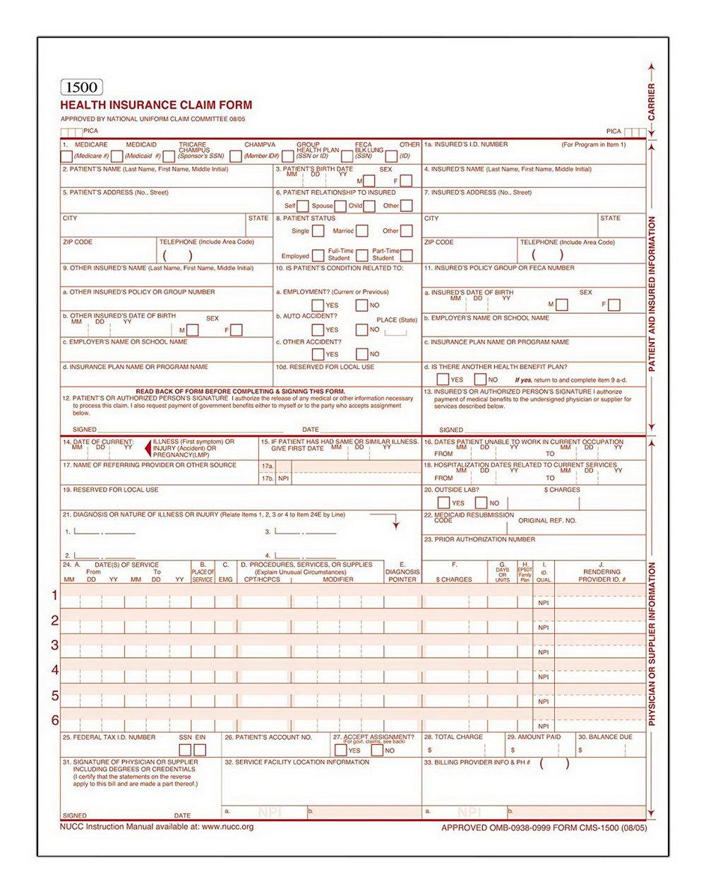 Hcfa 1500 Form Order