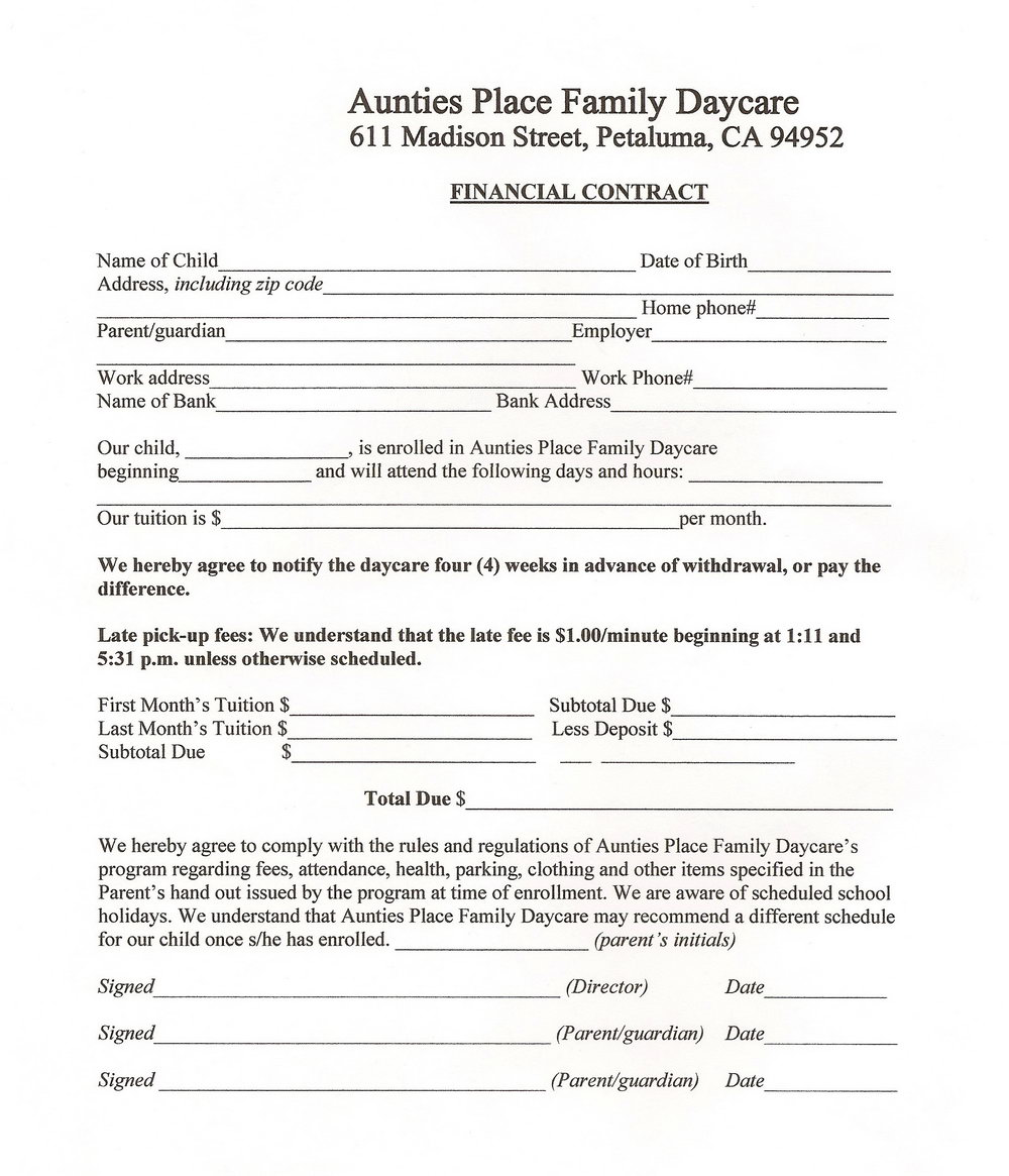 Home Daycare Contract Forms