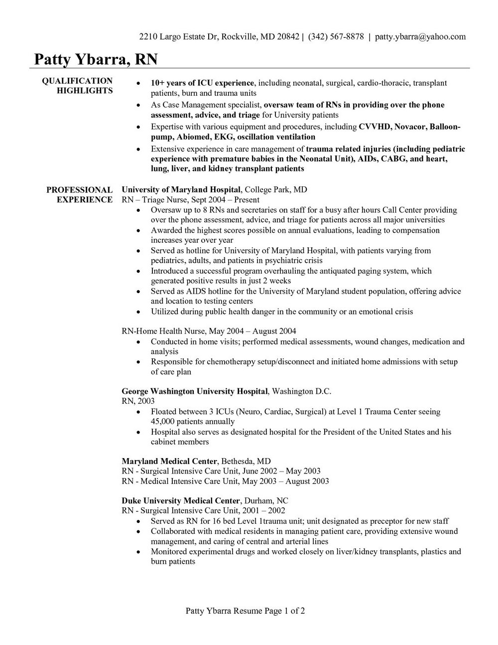 Icu Registered Nurse Resume Sample