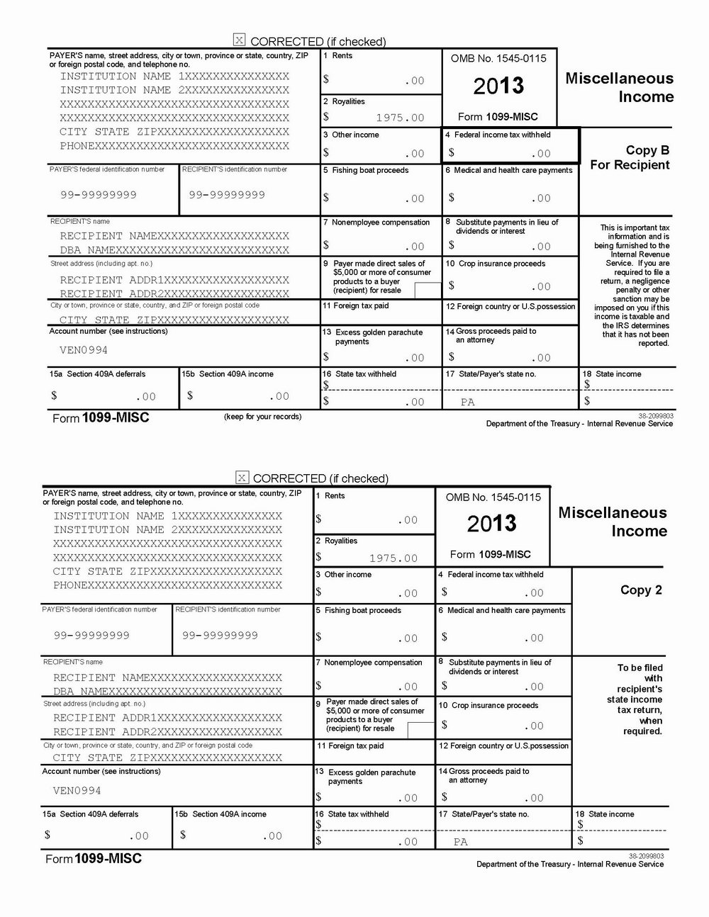 Irs 1099 Forms For 2013