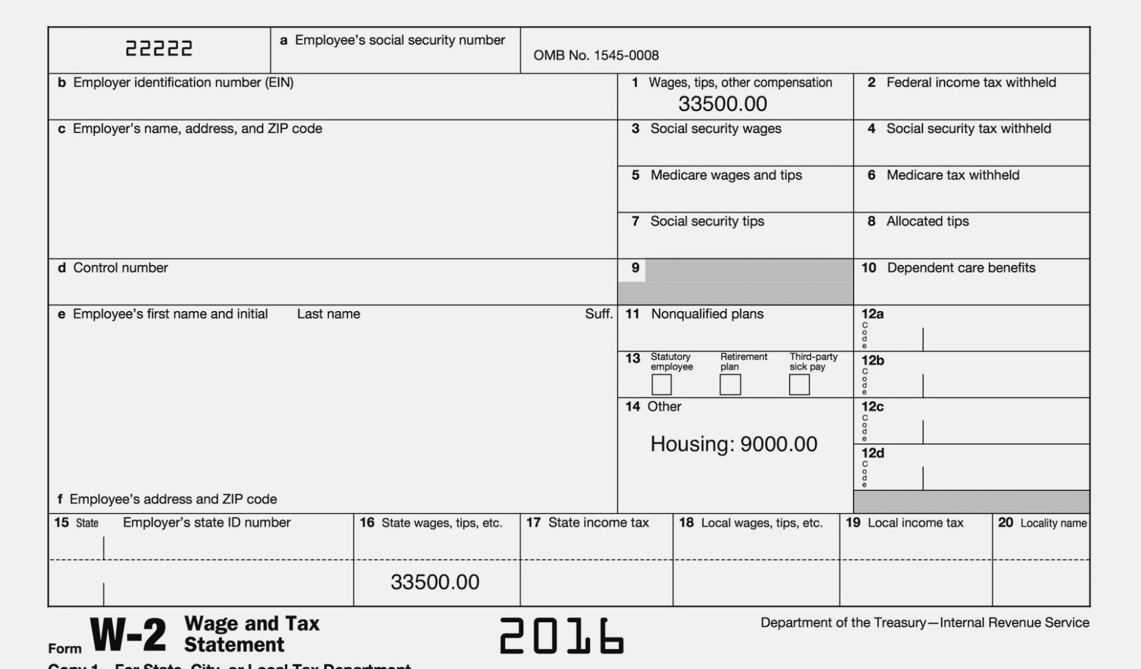 Irs W2 Form 2016 Printable