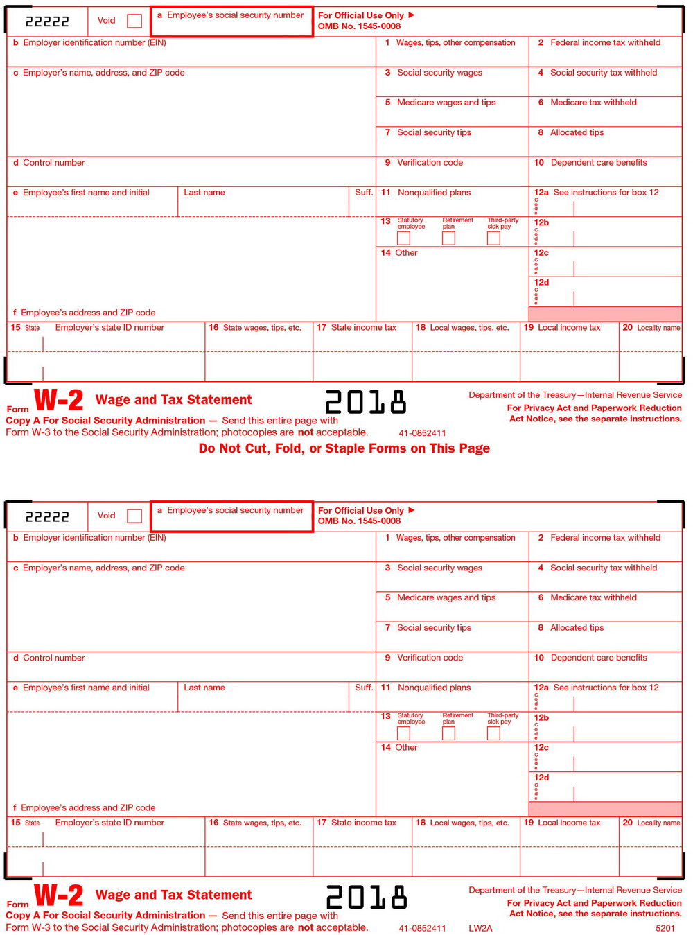 Irs W2 Form 2018 Printable
