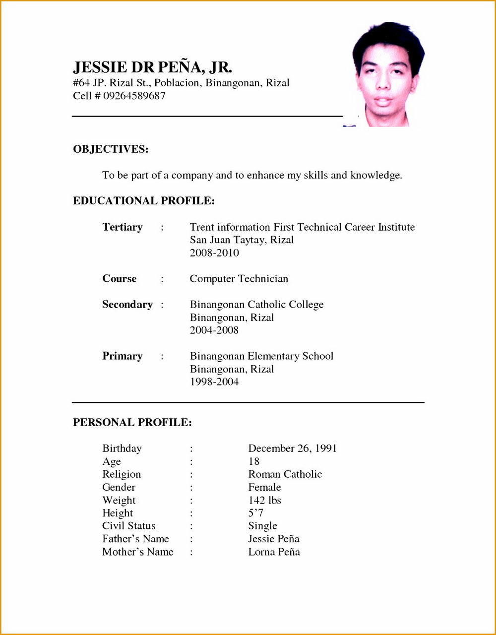 Latest Resume Format Doc File