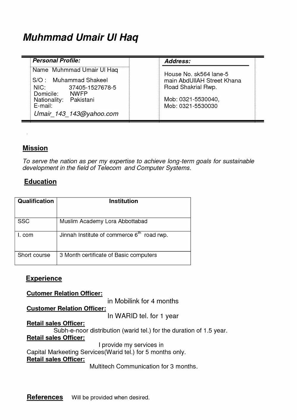 Latest Resume Format Doc For Freshers