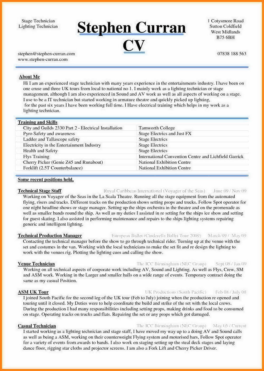 Latest Resume Format In Word Document