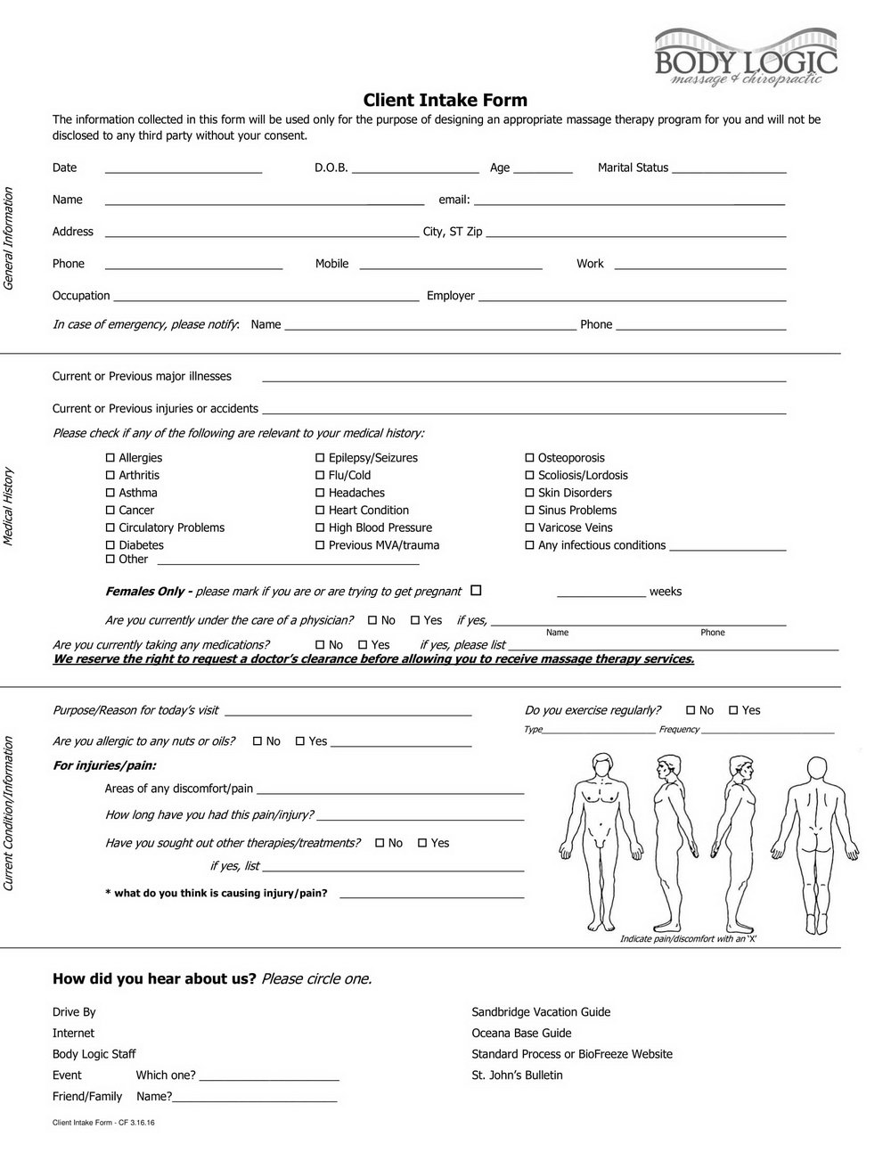 Massage Therapy Client Intake Form App
